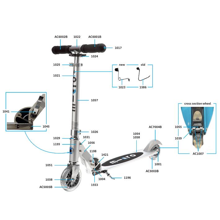 1025 Scooter Repuesto / Ajuste de Altura Plateado- Image 2