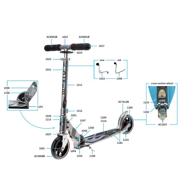 1025 Scooter Repuesto / Ajuste de Altura Plateado- Image 3