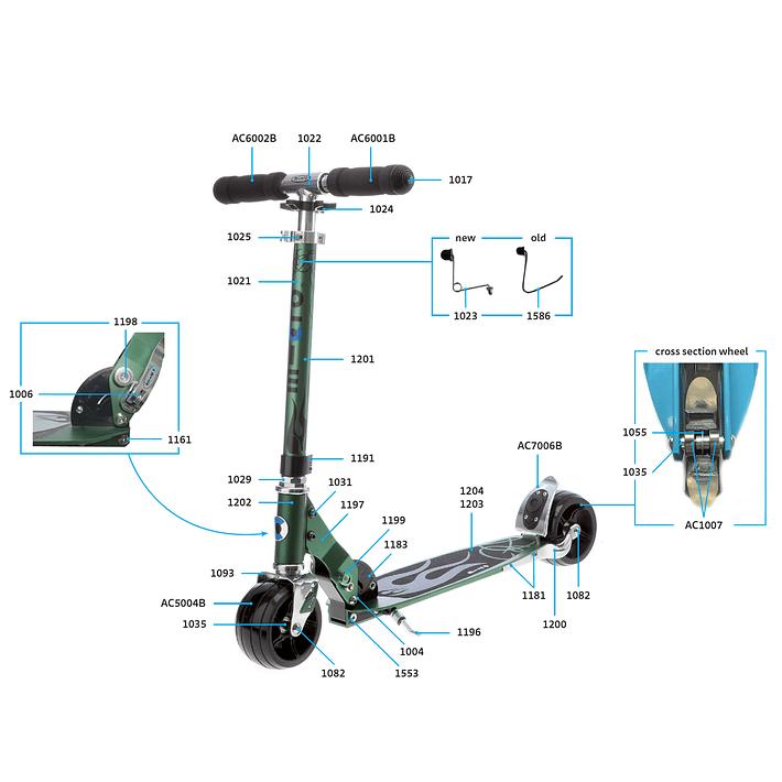 1025 Scooter Repuesto / Ajuste de Altura Plateado- Image 4