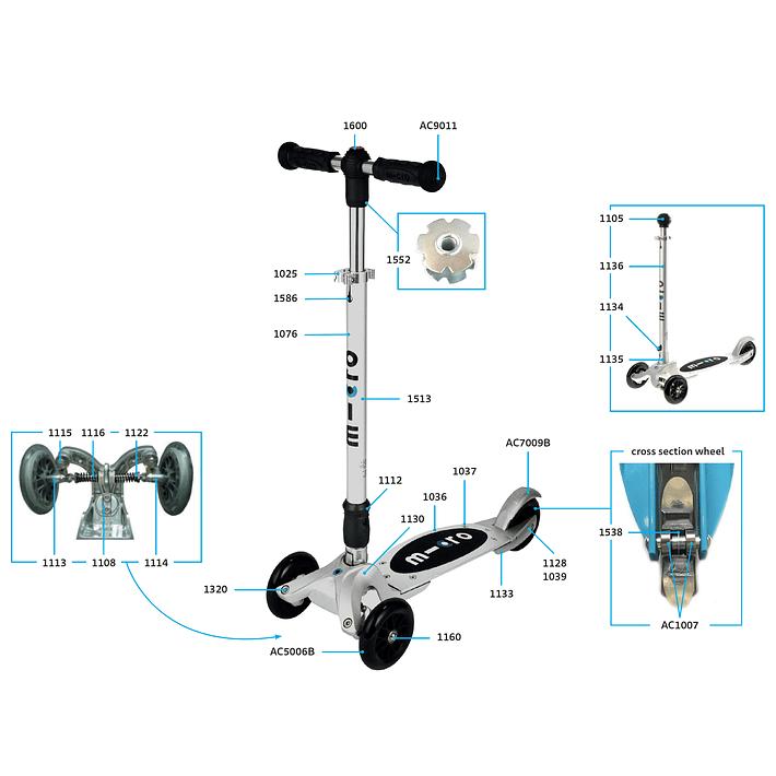 1025 Scooter Repuesto / Ajuste de Altura Plateado- Image 5