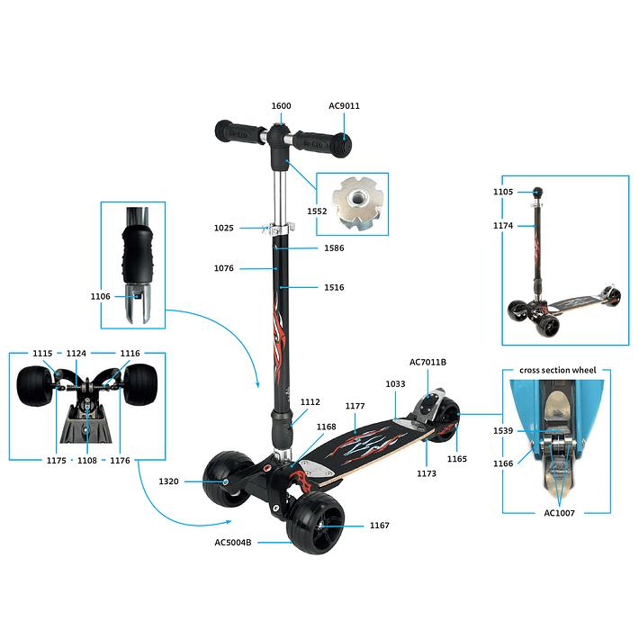 1025 Scooter Repuesto / Ajuste de Altura Plateado- Image 6