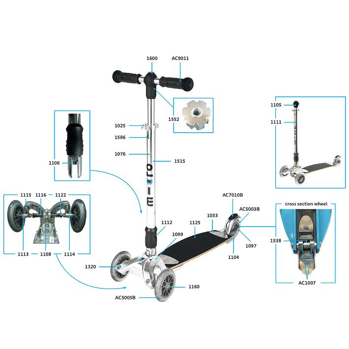 1025 Scooter Repuesto / Ajuste de Altura Plateado- Image 7