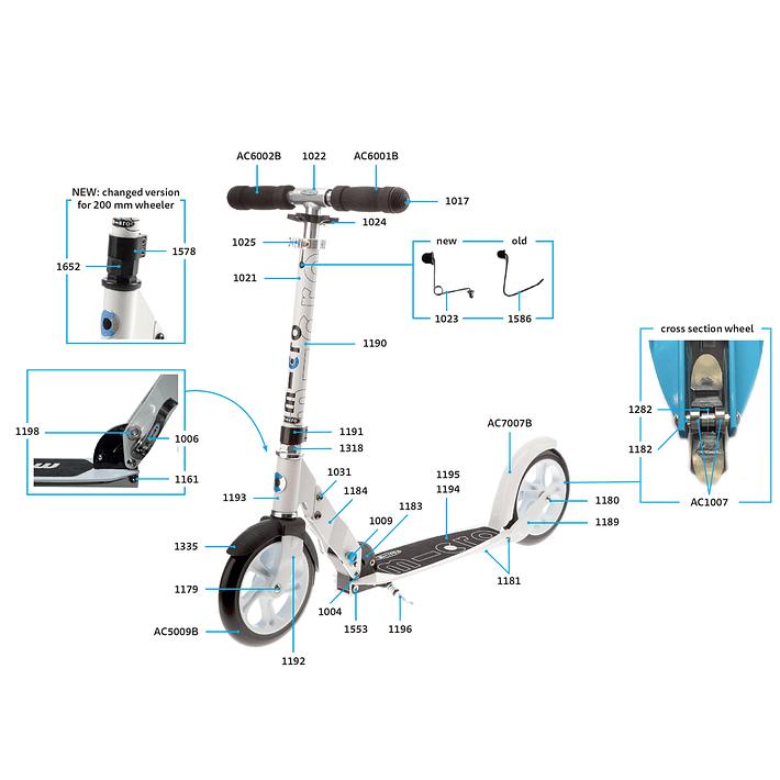 1025 Scooter Repuesto / Ajuste de Altura Plateado- Image 8