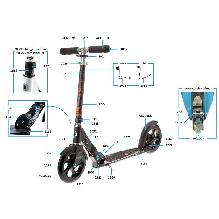 1025 Scooter Repuesto / Ajuste de Altura Plateado- Image 9