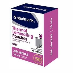 Láminas para Plastificar Studmark 80x110mm 250 Mic