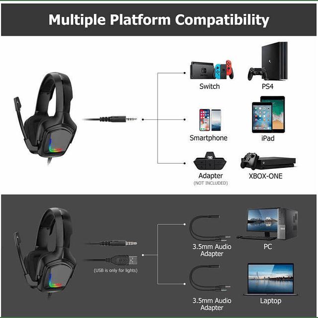 Audífonos Gamer Onikuma K1-b Pc Ps4 Xbox