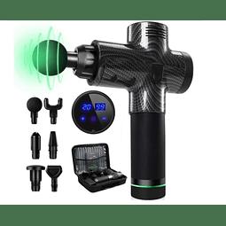 Pistola masaje muscular profesional, 6 accesorios, incluye maleta