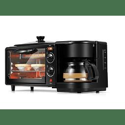 Maquina De Desayuno 3-en-1 Cafetera Sarten Y Horno.