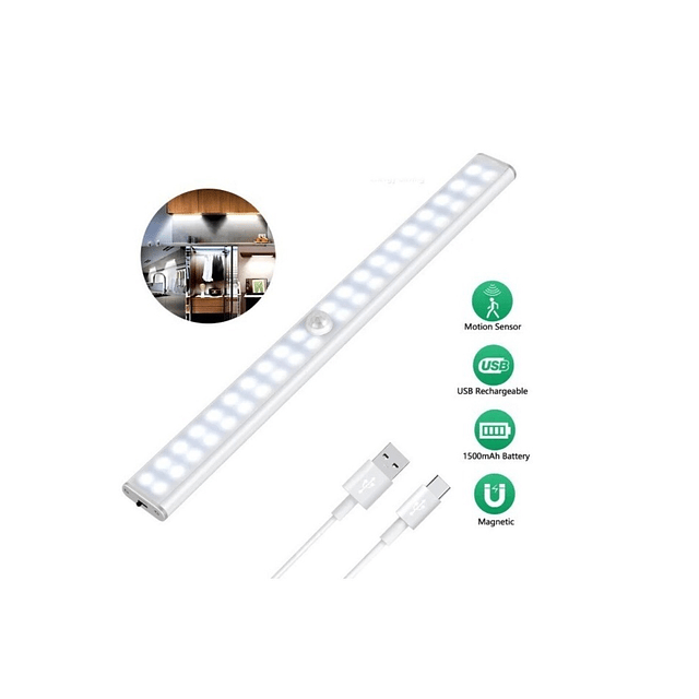 Luz Led Recargable Usb / Sensor De Movimiento/ 60 Led / Iman