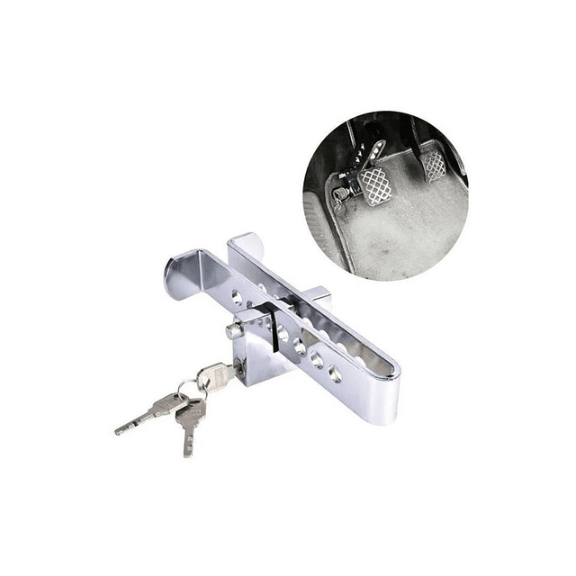 Traba Pedal + Candado + Llaves Seguridad Auto Robo