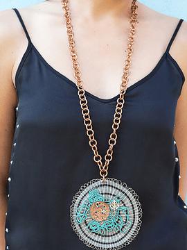 Collar Origen, Crin de Caballo, cobre, plata y oro.