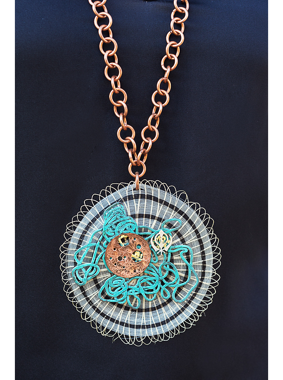 Origin necklace, horsehair, copper, silver and gold.