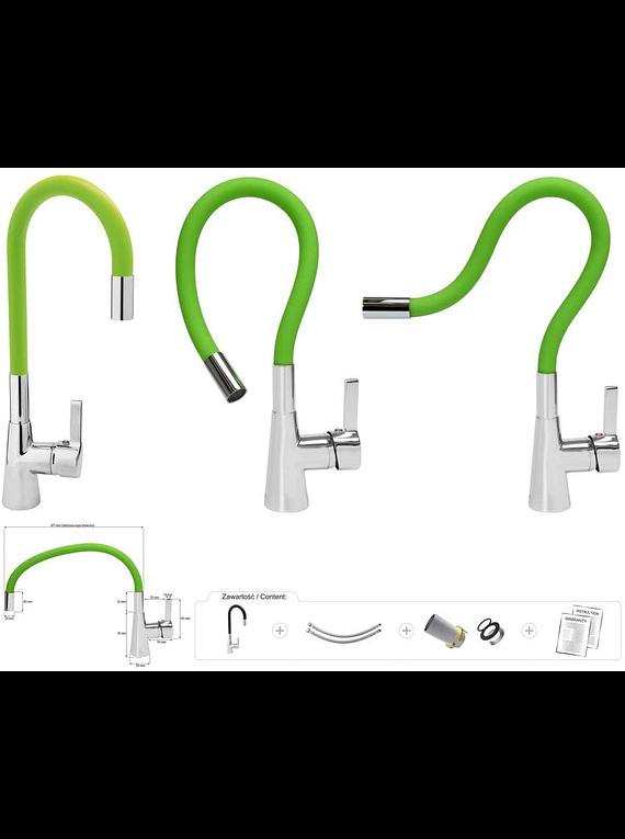 Llave Monomando Lavaplatos Cuello Flexible Verde