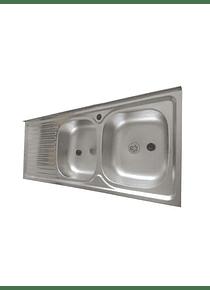 Lavaplatos Doble Sobreponer 120x50 Inoxidable Izquierdo + Monomando + Sifon + Acople