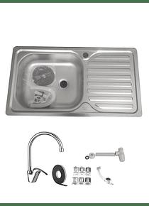 Lavaplatos Simple Empotrable 80x44 Inoxidable Derecho + Monomando + Sifón