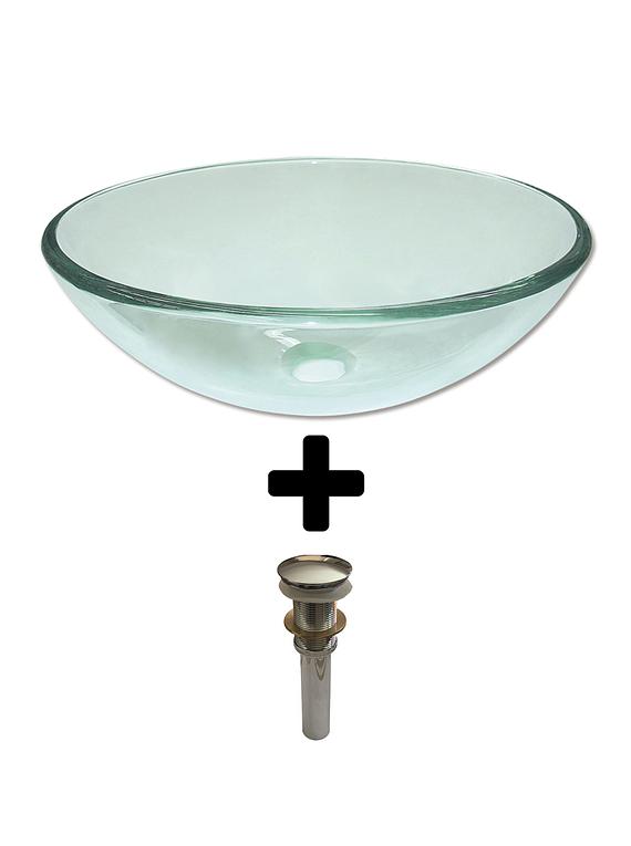 Bowl Lavatorio Cristal Transparente 41.5 Cm + Desague
