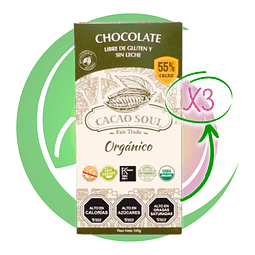 Pack 3 Barras Cacao 55% 100 Grs
