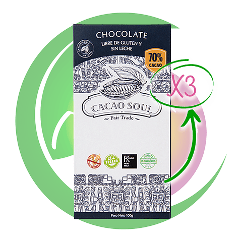 Pack 3 Barras Cacao 70% 100 Grs