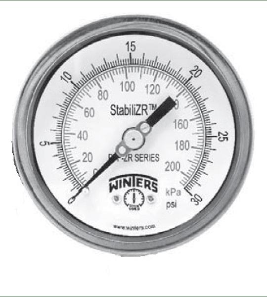 """MANOMETRO WINTERS PFP STABILIZR 4"""" X 1/2"""" NPT POST FULL INOX ARO BAYONETA"""