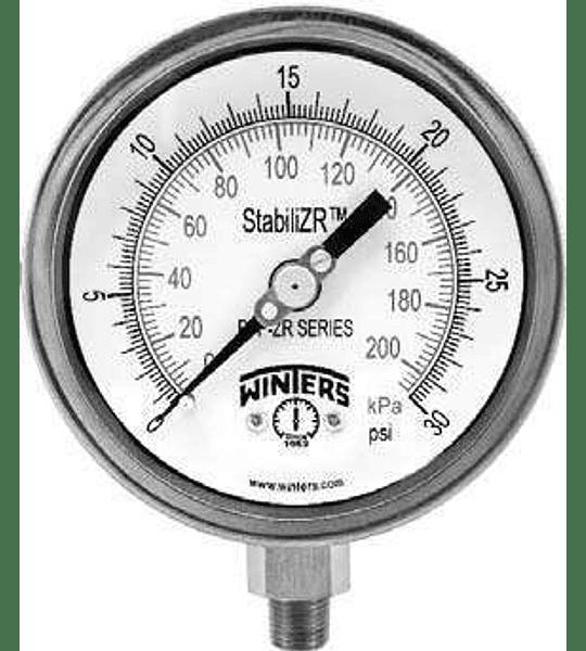 MANOVACUOMETRO WINTERS PFP STABILIZR 4'' X 1/2 NPT INF -30''HG FULL INOX ARO BAYONETA