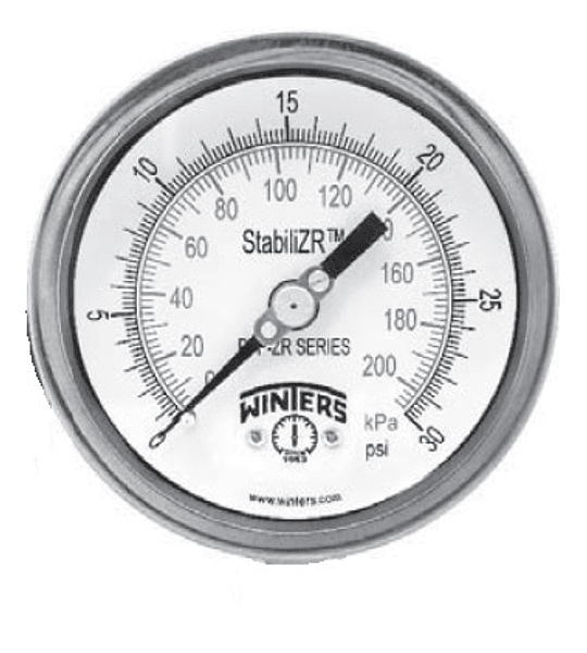 MANOVACUOMETRO WINTERS PFP-ZR STABILIZR 4'' X 1/4 NPT POST -30''HG FULL INOX ARO BAYONETA