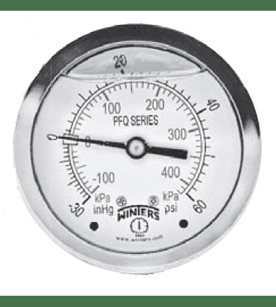 MANOVACUOMETRO WINTERS BRONCE INOX 100mm SERIE LF -30HG ATRAS 1/2NPT AC INOX 304