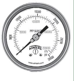 "MANOVACUOMETRO WINTERS SERIE PFP 100MM FULL INOX -30""HG ATRAS 1/2""NPT"