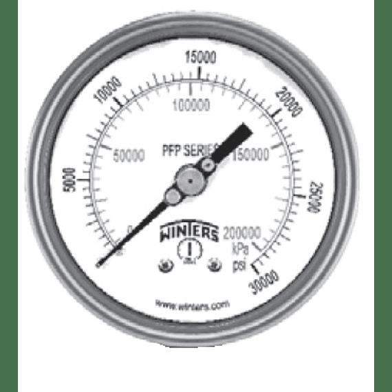 "VACUOMETRO WINTERS SERIE PFP 100MM FULL INOX -30"" A 0""HG/BAR ATRAS 1/2""NPT"