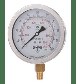 MANOMETRO WINTERS BRONCE INOXIDABLE 100mm SERIE LF ABAJO 1/2 NPT AC INOX 304