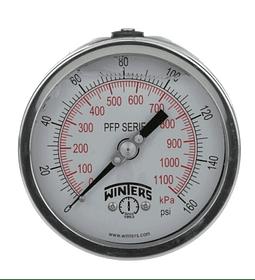 MANOMETRO WINTERS SERIE PFP 100MM FULL INOX ATRAS 1/4