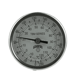 "TERMOMETRO WINTERS 3"", 0/150°C, 4"" STEM, 1/2""NPT AJUSTABLE BIMETALICO"