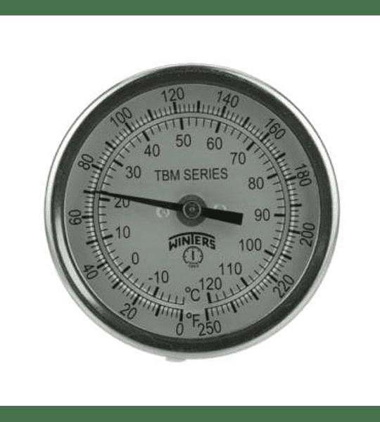 "TERMOMETRO WINTERS 3"", 0/200°C, 6"" STEM, 1/2""NPT AJUSTABLE BIMETALICO"
