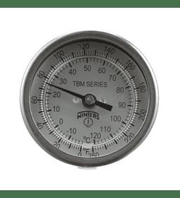 TERMOMETRO WINTERS BIMETALICO 100MM INOX 0 - 150ºC BULBO POSTERIOR DE 63MM CONEX 1/2