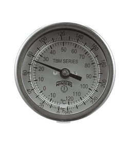 TERMOMETRO WINTERS BIMETALICOS 75MM DIAL 1/2NPT ATRAS BULBO 6.3MM X 100MM C/LAMINA DE SEGURIDAD