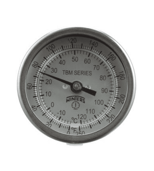 TERMOMETRO WINTERS BIMETALICOS 75MM DIAL 1/2NPT ATRAS BULBO 6.3MM X 150MM