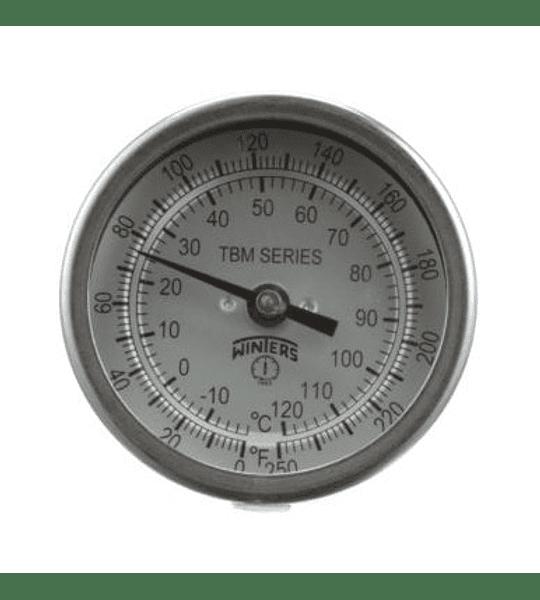 TERMOMETRO WINTERS BIMETALICOS 75MM DIAL 1/2NPT 0 A 60ºC ATRAS BULBO 6.3MM X 100MM
