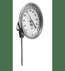 TERMOMETRO WINTERS BIMETALICOS 100MM DIAL 1/2NPT 0 A 200C ABAJO BULBO 6.3MM X 100MM