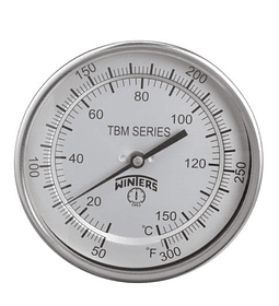 TERMOMETRO WINTERS BIMETALICOS 100MM DIAL 1/2NPT 0 A 60 C ATRAS BULBO 6.3MM X 100MM