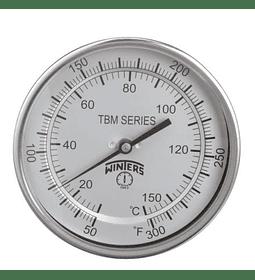 TERMOMETRO WINTERS BIMETALICOS 100MM DIAL 1/2NPT 0 A 60 C ATRAS BULBO 6.3MM X 150MM