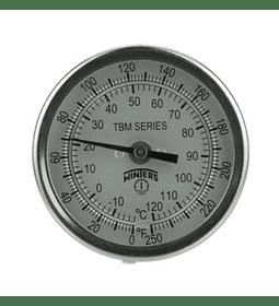 TERMOMETRO WINTERS BIMETALICOS ORIENTABLE 75MM DIAL 1/2NPT BULBO 6.3MM X 150MM