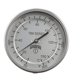 TERMOMETRO WINTERS BIMETALICOS ORIENTABLE 100MM DIAL1/2NPT BULBO 6.3MM X 150MM