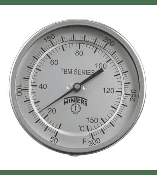 TERMOMETRO WINTERS BIMETALICOS ORIENTABLE 100MM DIAL 1/2NPT 0 A 60 C BULBO 6.3MM X 100MM
