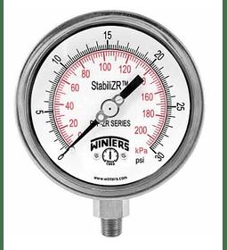 "VACUOMETRO WINTERS 6"" (150mm) FULL INOX, -1 A 0 BAR, CONEX 1/2"" NPT INFERIOR ZR"