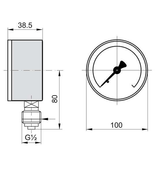 MANOMETRO BAUMER ACERO BRONCE 100mm 1/2NPT 0-1 BAR SIN GLICERINA