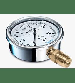 VACUOMETRO BAUMER BRONCE INOX. 100MM -1 A 0BAR 1/2NPT GLICERINA