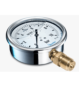MANOMETRO BAUMER BRONCE INOX 100MM 1/2NPT ATRAS GLICERINA DESDE 0 A 10BAR