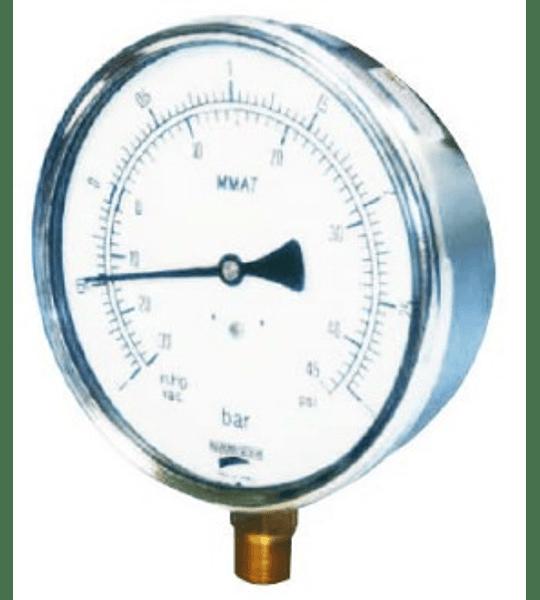 VACUOMETRO BAUMER BRONCE INOX 150MM 1/4NPT-30 A 0HG / -1 A 0BAR CAPSULADO