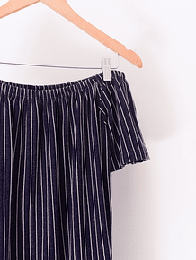 Vestido stripes off shoulders