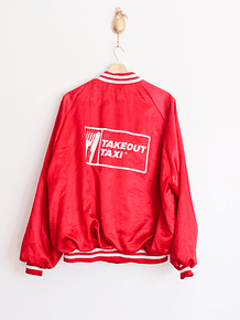 Bomber jacket red satin