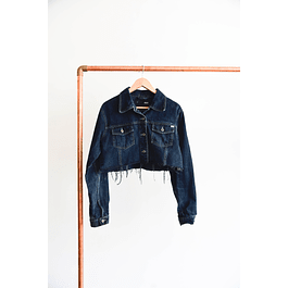 Crop jacket denim oscura